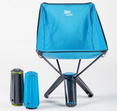 The Treo Chair is a comfortable camping chair that folds into the size of a small thermos is a must for backpacking trips, or even car camping. From Cool Things.(Diy Camping Hacks)
