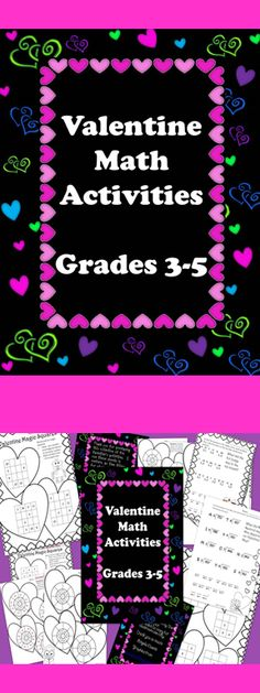 This is a collection of fun math activities for Valentine's Day