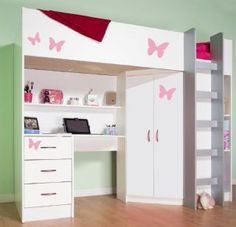High sleeper childrens cabin bed, also available in a wood finish. Bed with wardrobe and desk with variety of colour options. Bed with quality storage for all ages. Cabin Bed With Wardrobe, Cabin Bed With Desk, Girl Bedroom Designs, Girls Bedroom, Bedroom Ideas, Bedrooms, Bedroom Decor, High Sleeper Cabin Bed, Childrens Cabin Beds
