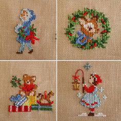 かわいい💕 布は32ct moca 発色がきれい♪ 青のコートの女の子のタイツの色…間違えてたけど、気にしない〜 バックステッチの効果は小さいモチーフでもすごいですね♪ #veroniqueenginger #crossstitch… Xmas Cross Stitch, Cross Stitch Christmas Ornaments, Beaded Cross Stitch, Christmas Embroidery, Cross Stitching, Cross Stitch Embroidery, Hand Embroidery, Cross Stitch Designs, Cross Stitch Patterns