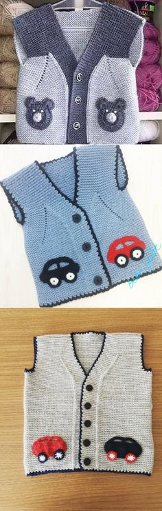 Vest for baby – Knitting News Lace Knitting Stitches, Baby Boy Knitting Patterns, Baby Sweater Patterns, Baby Cardigan Knitting Pattern, Knitting Designs, Girls Sweaters, Baby Sweaters, Knitting Pullover, Knitted Baby Outfits