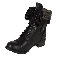 Lustacious Womens Oracle MidCalf combat Style Lace Up Block Heel Boots  Soda