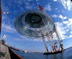 Structure designed by Ove Arup & Partners Japan.  Osaka Maritime Museum  Osaka, Japan  Paul Andreu Architect