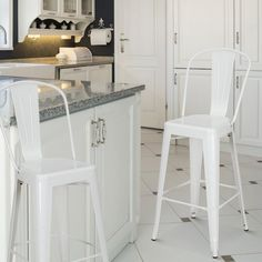 $129.99 - Glossy White Metal Bar Stools with Back (Set of Two) & Distressed Metal Bar Stool with Back | Bar stool Stools and Bar islam-shia.org
