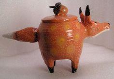FOXY-FOX-FOLK-POT-Animal-Face-Jug-Spice-Jar-Effigy-Jar-Herb-Caddy