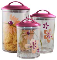 Reston Lloyd Corelle Coordinates  Acrylic Canister, Pink, Set of 3 by Reston Lloyd, Ltd.. $34.00. Care instructions printed on the bottom of each canister. Made from bpa-free material. Dishwasher safe. 3-1/2 cup, 5-1/2 cup, and 9 cup capacity. Lids have air tight gaskets. Reston Lloyd is a leading manufacturer and distributor of kitchenware, specializing in enamel on steel products. For nearly 30-year, we have been dedicated to providing the highest quality products, with an...