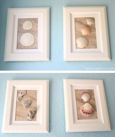 DIY Frame Shell Art | Mom Endeavors.. Use scrapbook paper that looks like sand. Use your own beach findings or purchase seashells from Michaels.