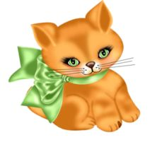 Kitten with green bow