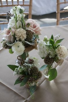 3 pc centerpiece set. Groupings really break up the space and tablescapes in a casual but elegant way.