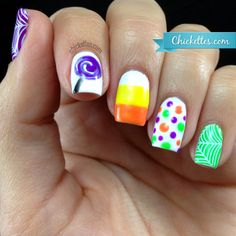 Chickettes.com Whimsical Halloween Candy Nail Art