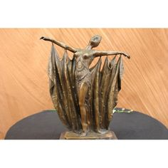 ON SALE !!! Vintage Chiparus Belly Dancer Bronze Sculpture Statue...The Exotic Dancer Spreads Her Arms Like A Butterfly Fluttering Open Its Wings. A Fabric Hangs From Her Arms, The Way A Curtain Falls, That Sways To The Movement Of Her Dance. Great Detail Is Seen In Her Beaded Costume In Which Her Breasts Escape. The Handmade Bronze Sculpture Was Cast Using The Archaic Method Of Lost-Wax Casting And Stained With A Brown Patina Finish For Preservation. She Is Mounted Upon A Black Marble Base…