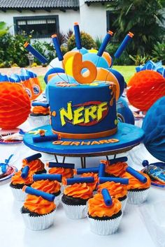 Check out this cool Nerf-themed birthday party! The cake is fantastic! See more party ideas and share yours at CatchMyParty.com  #catchmyparty #partyideas #nerf #nerfparty #boybirthdayparty #cake