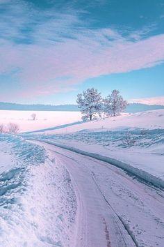 Wanderlust Photography - sundxwn: Winter Road by Mevludin Sejmenovic Winter Photography, Landscape Photography, Nature Photography, Winter Magic, Winter Snow, Winter Blue, Winter Scenery, Snow Scenes, Winter Beauty