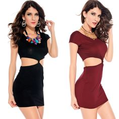 New Fashion Womens Dresses Sexy Lingerie  Hollow Waist Clubwear Mini Slim Bodycon Dress H2553
