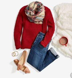 Stitch fix: LOVE ALL OF IT. Baby, it's cold outside! Cozy up in a waffle-knit sweater, relaxed boyfriend jeans & a festive plaid scarf. Need a winter refresh? Schedule a Fix to liven up your closet with stylish seasonal pieces like these. Winter Outfits, Casual Outfits, Cute Outfits, Stitch Fix Outfits, Stitch Fix Stylist, Red Sweaters, Swagg, Look Cool, Look Fashion