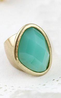 Blue Gemstone Gold Ring - Sheinside.com #SheInside