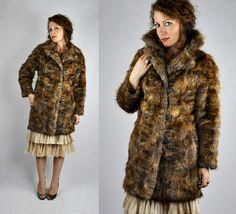 40s Fur Coat Jacket Fox Coyote Racoon Double by ItaLaVintage