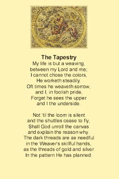 The Tapestry of our Lives by Corrie Ten Boom Faith Quotes, Words Quotes, Wise Words, Me Quotes, Trials Quotes, Wise Sayings, Bible Quotes, Christian Poems, Christian Encouragement