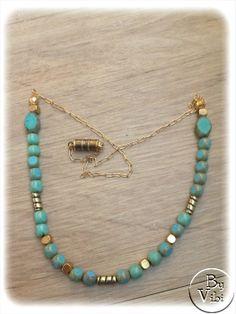 Collier perles turquoise et dorées par ByVibi sur Etsy, €20.00