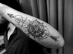 Ship Wheel Simple Line Tattoo For Men tattoos for men 75 Line Tattoos For Men - Minimal Designs With Bold Statements Arrow Tattoo Arm, Arrow Tattoos, Line Tattoos, Trendy Tattoos, Forearm Tattoos, Black Tattoos, Body Art Tattoos, Tattoos For Women, Sleeve Tattoos