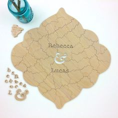 70 piece Wedding Guest Book Puzzle, guestbook alternative, custom wood BOHO puzzle guest book Bella Puzzles™ medallion wedding bohemian Bella