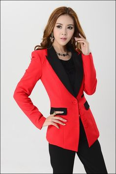 Womens red blazer with black lapel
