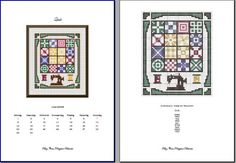 Free cross stitch of quilt and sewing machine; busy border could be omitted