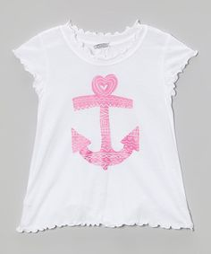 Look what I found on #zulily! White & Pink Doodle Anchor Tee - Infant, Toddler & Girls #zulilyfinds