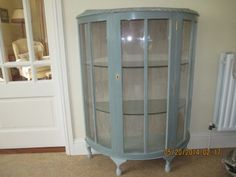 Display Cabinet Bow Fronted - 1950's beautiful hand painted display cabinet in Annie Sloan Duck Eg...