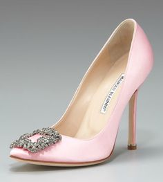 Manolo Blahnik Hangisi Satin Pump in Light Pink Carrie Bradshaw's wedding shoe, now in this lovely pink, available from Neiman Marcus. Stunning!