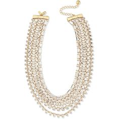 kate spade new york multi-strand crystal statement necklace ($255) ❤ liked on Polyvore featuring jewelry, necklaces, gold, bib statement necklace, yellow crystal necklace, chain necklace, layered chain necklace and bow necklace