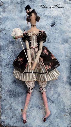 Купить кукла тильда ручной работы ДЕВОЧКА И ЛОШАДКА) - коричневый, кукла ручной работы