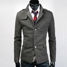 Sophisticated Stereo Slimming Black and Gray Cotton Blazer For Men (GREY/GRAY,2XL) China Wholesale - Sammydress.com