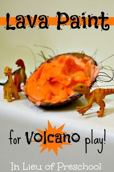 Dinosaur & Volcano Small World Play in the Bath--lava paint--shaving cream=red food coloring...foam mountain shape stuck to shower wall=fun