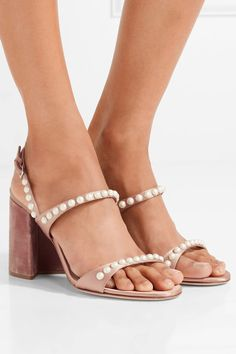 Heel measures approximately 85mm/ 3.5 inches Blush satin and velvet Buckle-fastening slingback strap  Designer color: Nudo Made in Italy