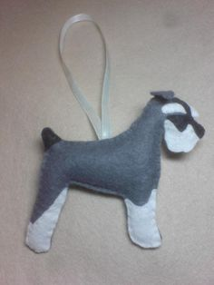 Miniature Schnauzer...Hand stitched ornamental felt dog filled with Soil Association certified 100% organic wool by SheepInStitches on Etsy
