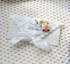 """Конверты для денег ручной работы. Ярмарка Мастеров - ручная работа """"Спасибо"""" свадебный конверт для денег. Handmade."""