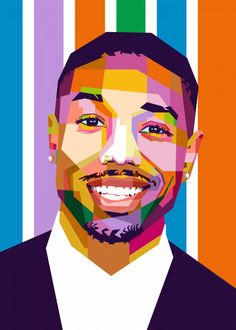 Michael B Jordan poster by from collection. By buying 1 Displate, you plant 1 tree. Jordan Painting, Michael Bakari Jordan, Jordan Poster, Monochromatic Art, Pop Art Posters, Pop Art Portraits, Art Drawings Sketches, Black Art, Jordans