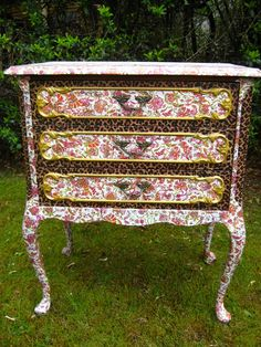 DIY re-decorating furniture using Decopatch paper and glue - table or side unit.