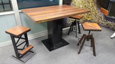 I beam table with industrial stools