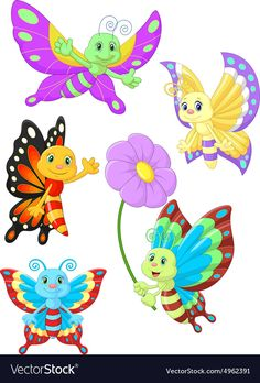Illustration of Cute butterfly cartoon collection set vector art, clipart and stock vectors. Butterfly Cartoon Images, Butterfly Clip Art, Butterfly Drawing, Cute Butterfly, Art Drawings For Kids, Drawing For Kids, Art For Kids, Ladybug Cartoon, Cute Cartoon