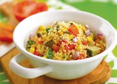 This easy couscous salad recipe is really quick and simple to make - there's no cooking involved, just soak the couscous in stock for 10 minutes, then mix in loads of crunchy veg. A great idea for picnics and packed lunches. Couscous Salad Recipes, Salad Recipes For Dinner, Dinner Salads, Healthy Salad Recipes, Lunch Recipes, Cooking Recipes, Healthy Lunches, Detox Recipes, Easy Recipes