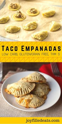 These Taco Empanadas have flaky pastry and cheesy filling in every hand held bite. They are grain free, gluten free, low carb, and THM S. via @joyfilledeats