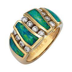 Kabana - Australian Opal & Diamond Ring #opal #rings #jewelry