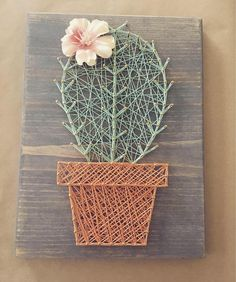 Solo cactus string art • potted cactus • rustic cactus • nursery decor • baby room