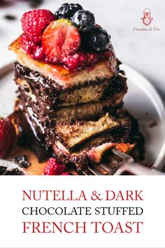 This Nutella & Dark Chocolate Stuffed French Toast recipe is the dessert for breakfast dream you've been waiting for! Easy to make. Easier to eat! | Chocolates & Chai | Recipes #frenchtoast #nutella #brunch