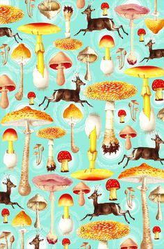 Mushroom deer print