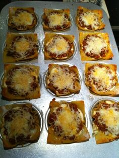 my first attempt at cupcake lasagnas! Thanks to http://www.canyoustayfordinner.com/for the fun & yummy idea!