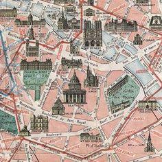 Vintage Paris Tourist Map \