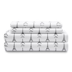 Add a chic look to your bed with the Elite Home Paris Twin Microfiber Sheet Set Bedding Eiffel Tower Script, Black and White. Shop Paris themed bedding at GreyDock! Girls Pink Bedding, Purple Bedding, Ocean Bedding, Bedding Sets, Paris Themed Bedding, Paris Home Decor, Queen Size Sheets, French Script, Twin Sheet Sets